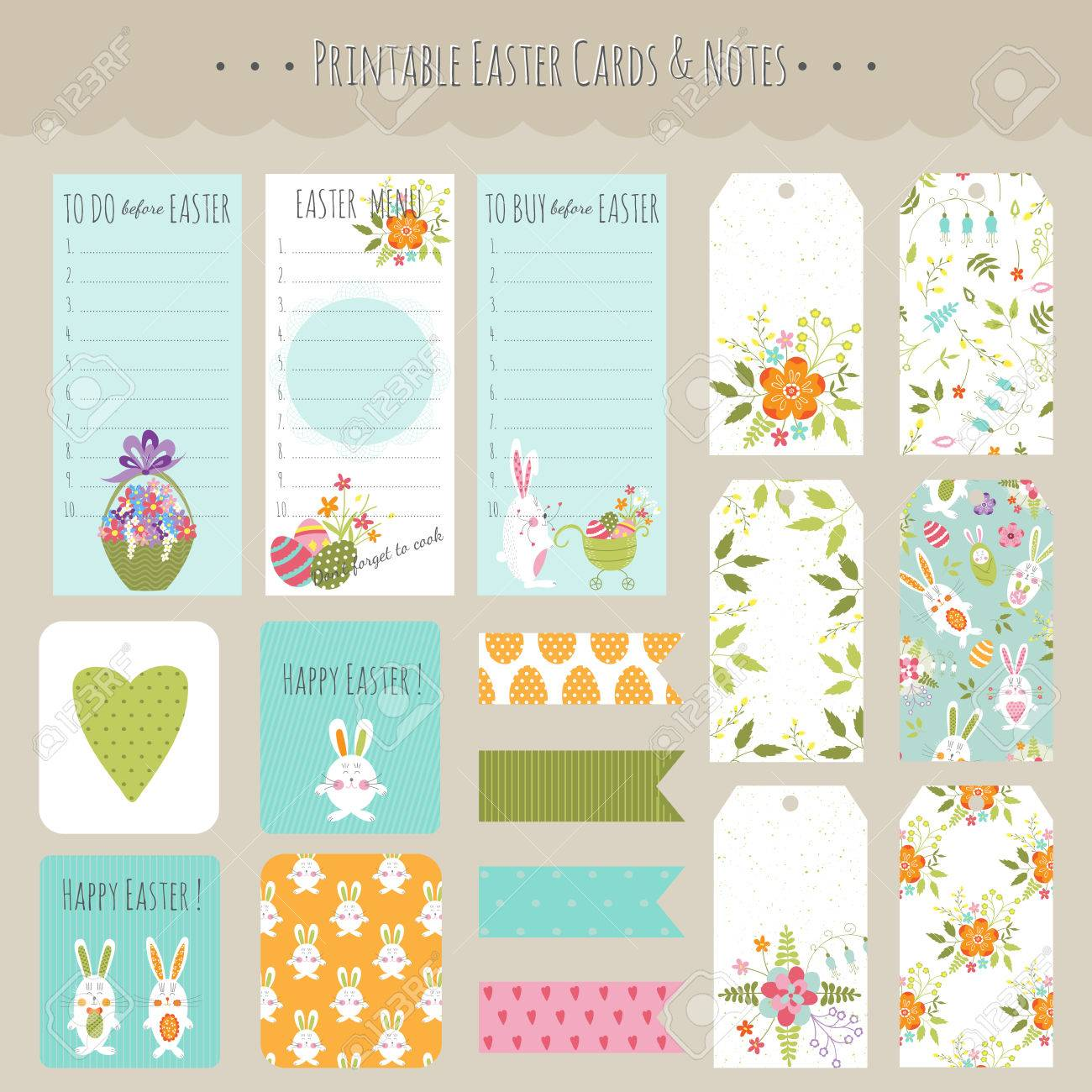 photo regarding Easter Stationery Printable named Vector huge fixed of Easter playing cards, tags, notes and stickers with..
