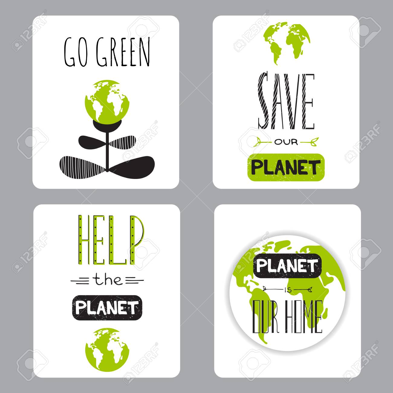 Vector set of small card templates suitable for earth day and vector vector set of small card templates suitable for earth day and earth hour holidays for greeting cards brochures tags and labels souvenirs m4hsunfo
