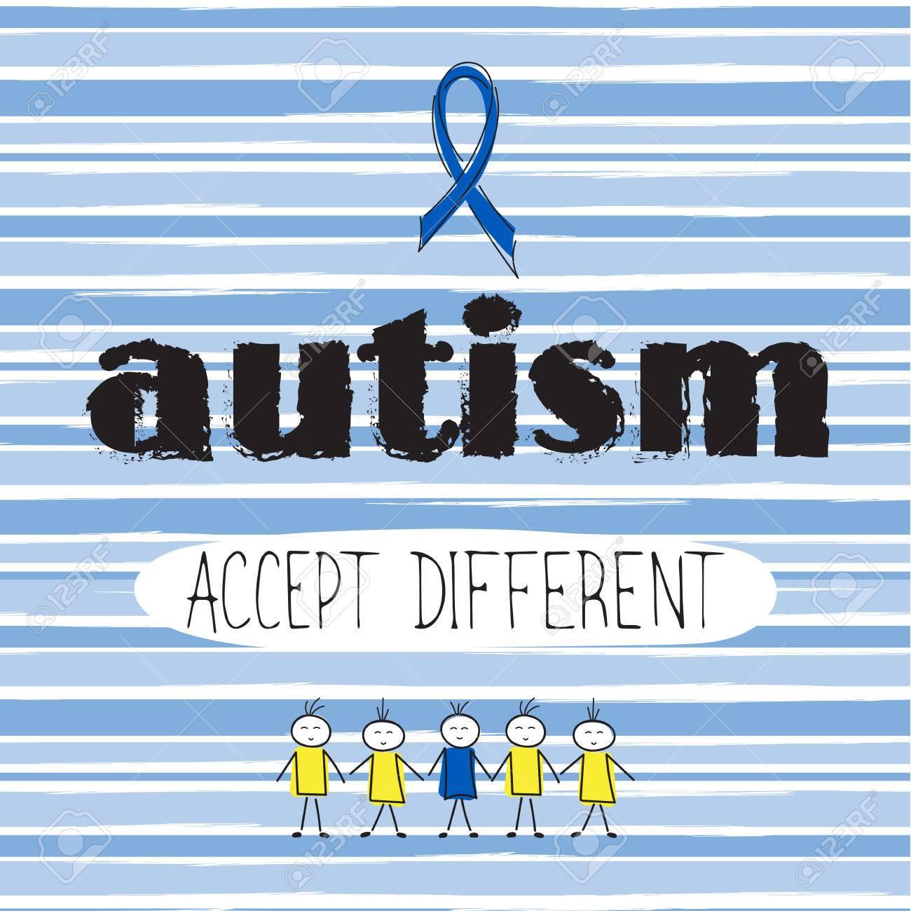 Vector Dibujado A Mano Las Letras Caligrafía Estilo Retro Frase De Motivación Para El Día Mundial Del Autismo Aceptar Diferente Tarjetas De