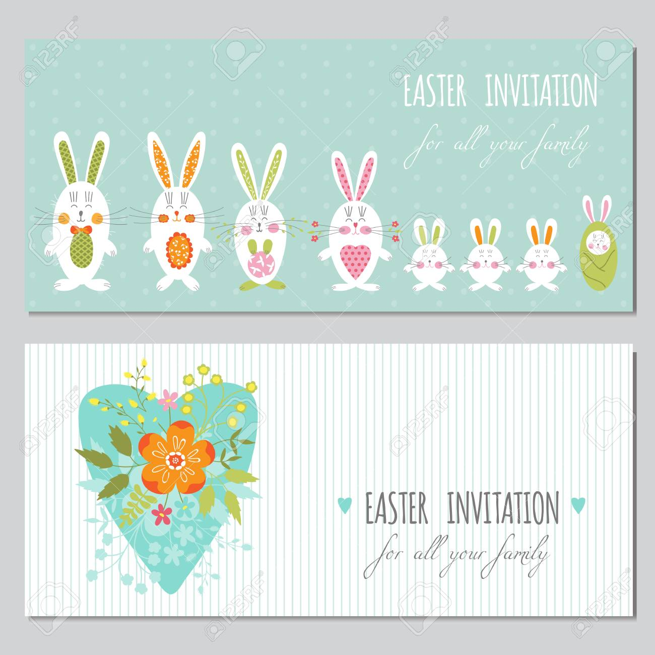 image about Easter Stationery Printable titled Vector preset of horizontal banner templates. Vibrant spring printable..