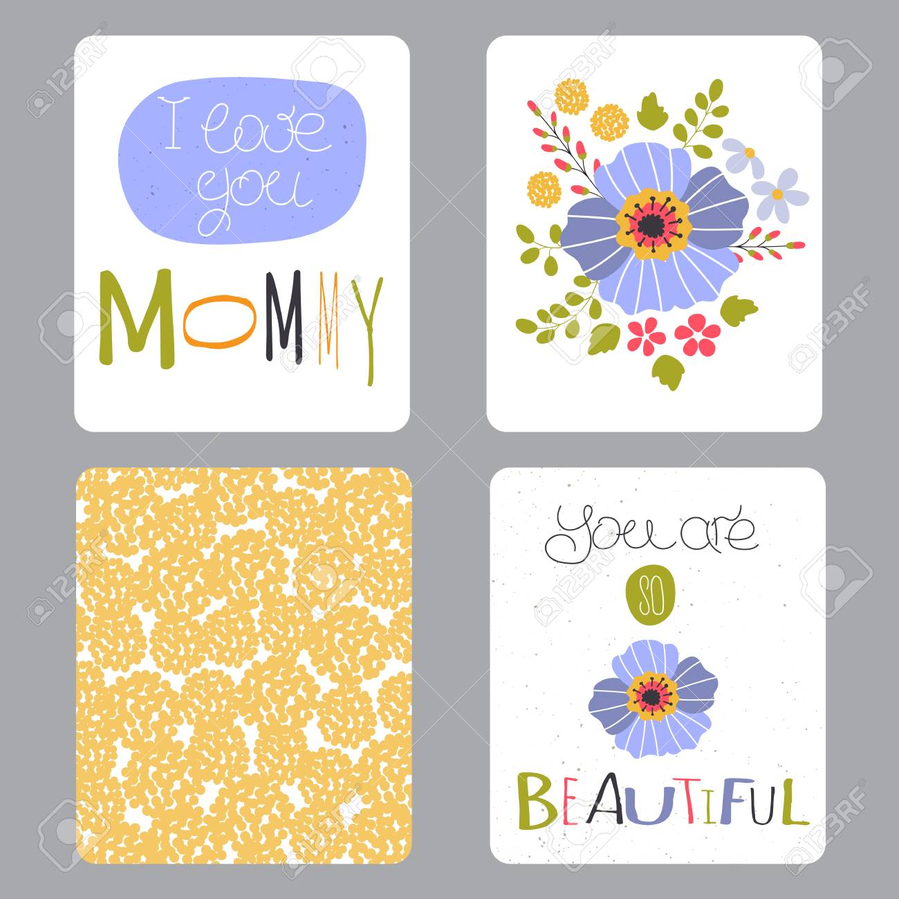 Vector Set Of Small Card Templates Hand Drawn Lettering For - Small invitation cards templates