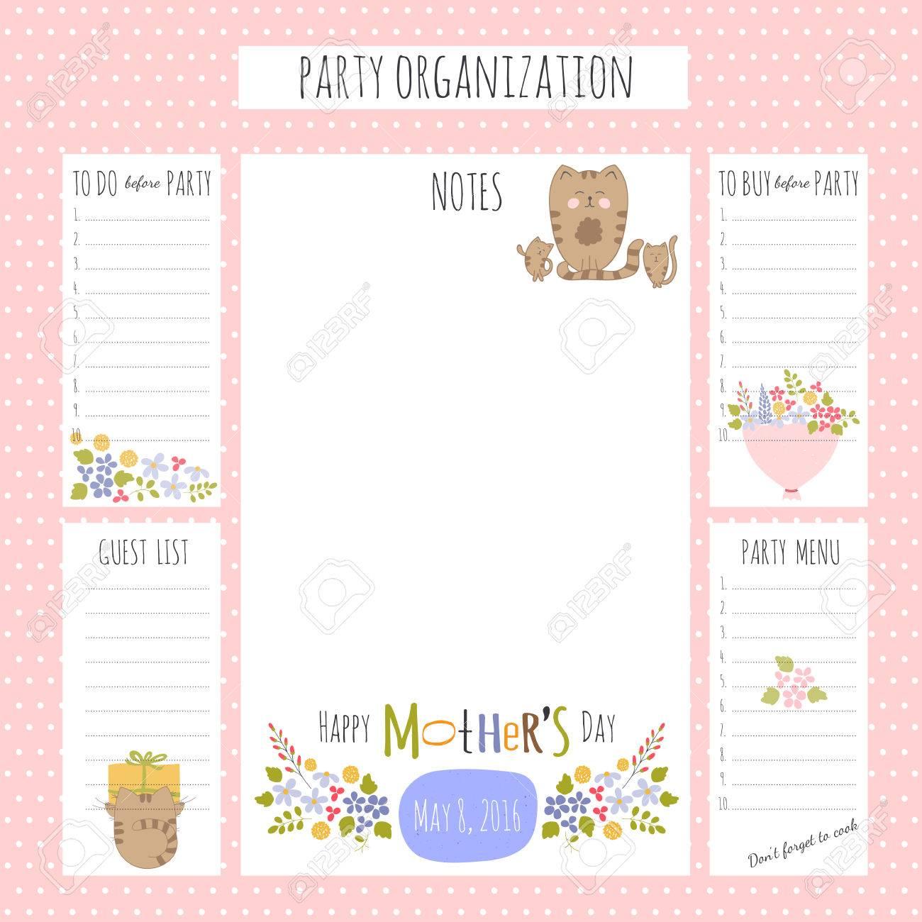 Vector Conjunto De Día De La Madre Para Hacer Listas En Un Gran Cartel Lista Para Imprimir Para La Organización Del Partido Tarjetas De