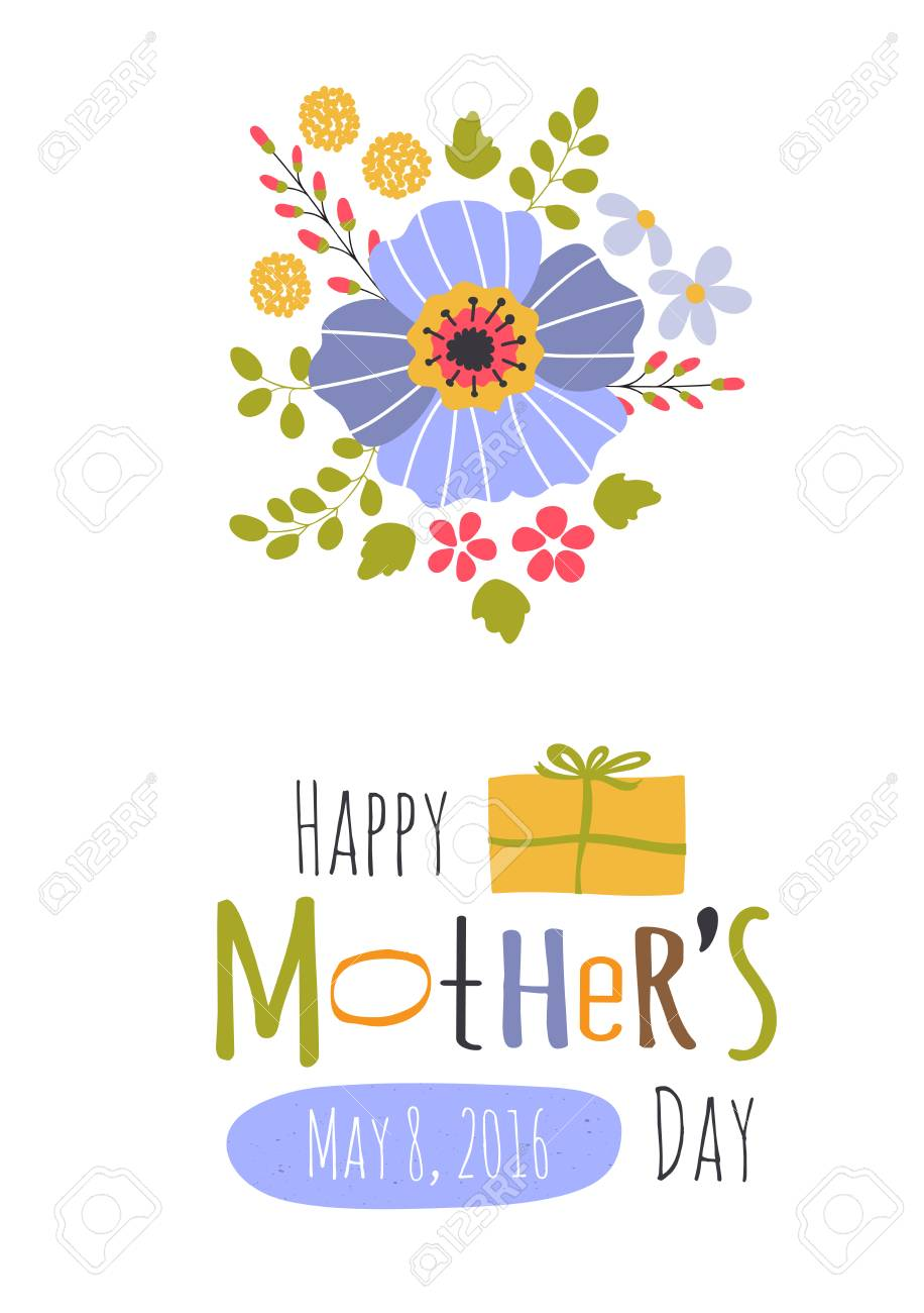 Cute Greeting Card Template For Mothers Day Holiday Floral Design