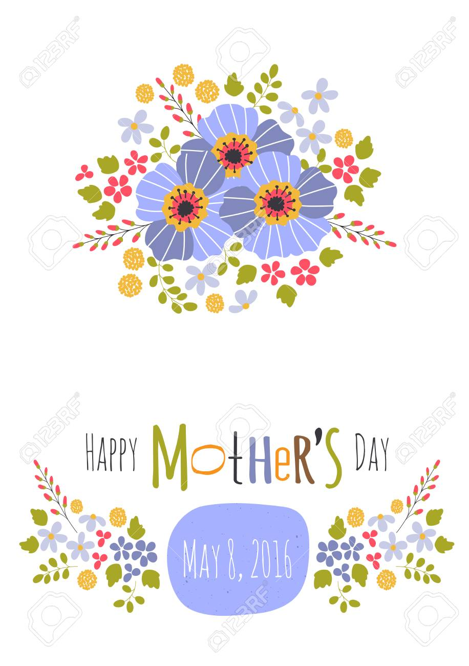 Greeting Card Template For Mothers Day Holiday Floral Design