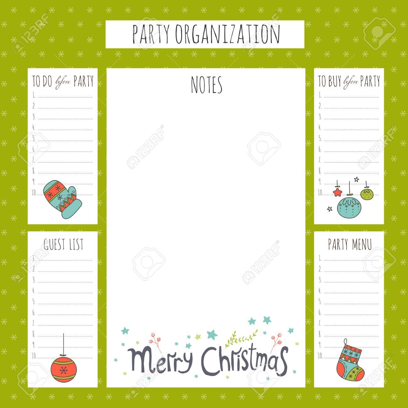 Conjunto De Año Nuevo Y Vacaciones De Navidad Para Hacer Listas En Un Gran Cartel Lista Para Imprimir Para La Organización De Invierno Partido