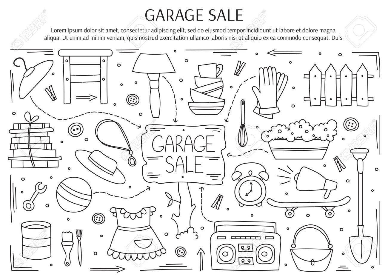 Garage sale, household used goods. Hand drawn black on white line elements. horizontal banner template. Doodle background. For banners and posters, brochures, invitations, website designs. - 67675419