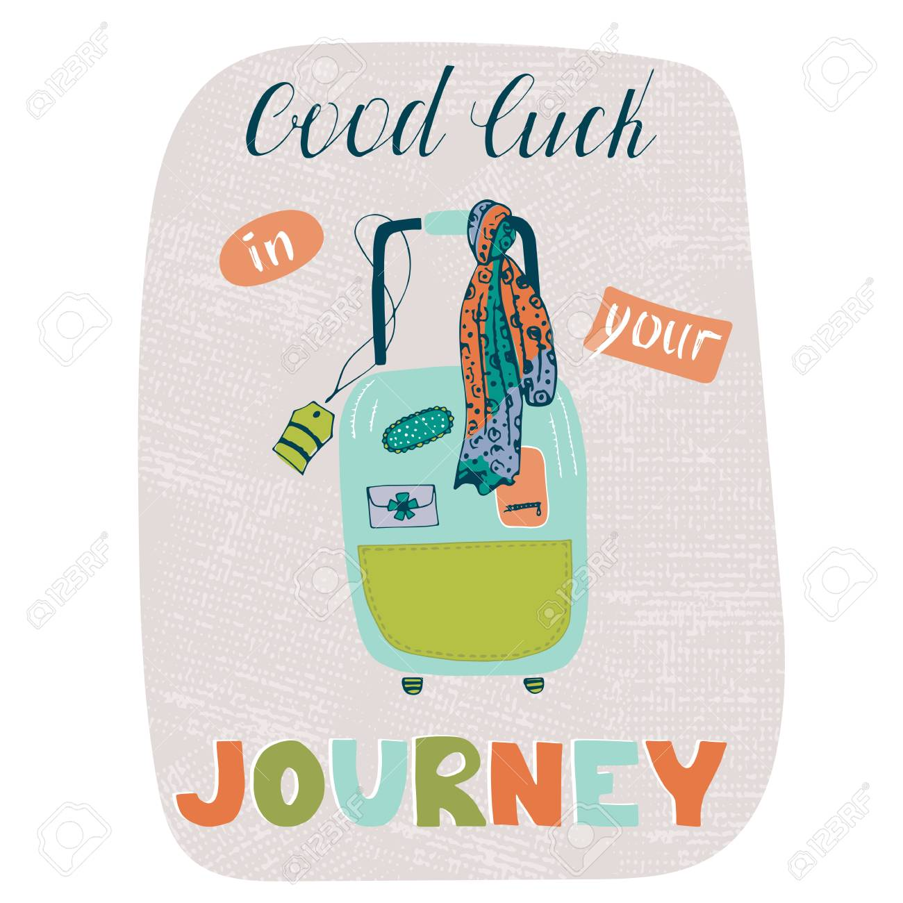 Travel Card Template With Suitcase. Greeting Postcard With Hand ...