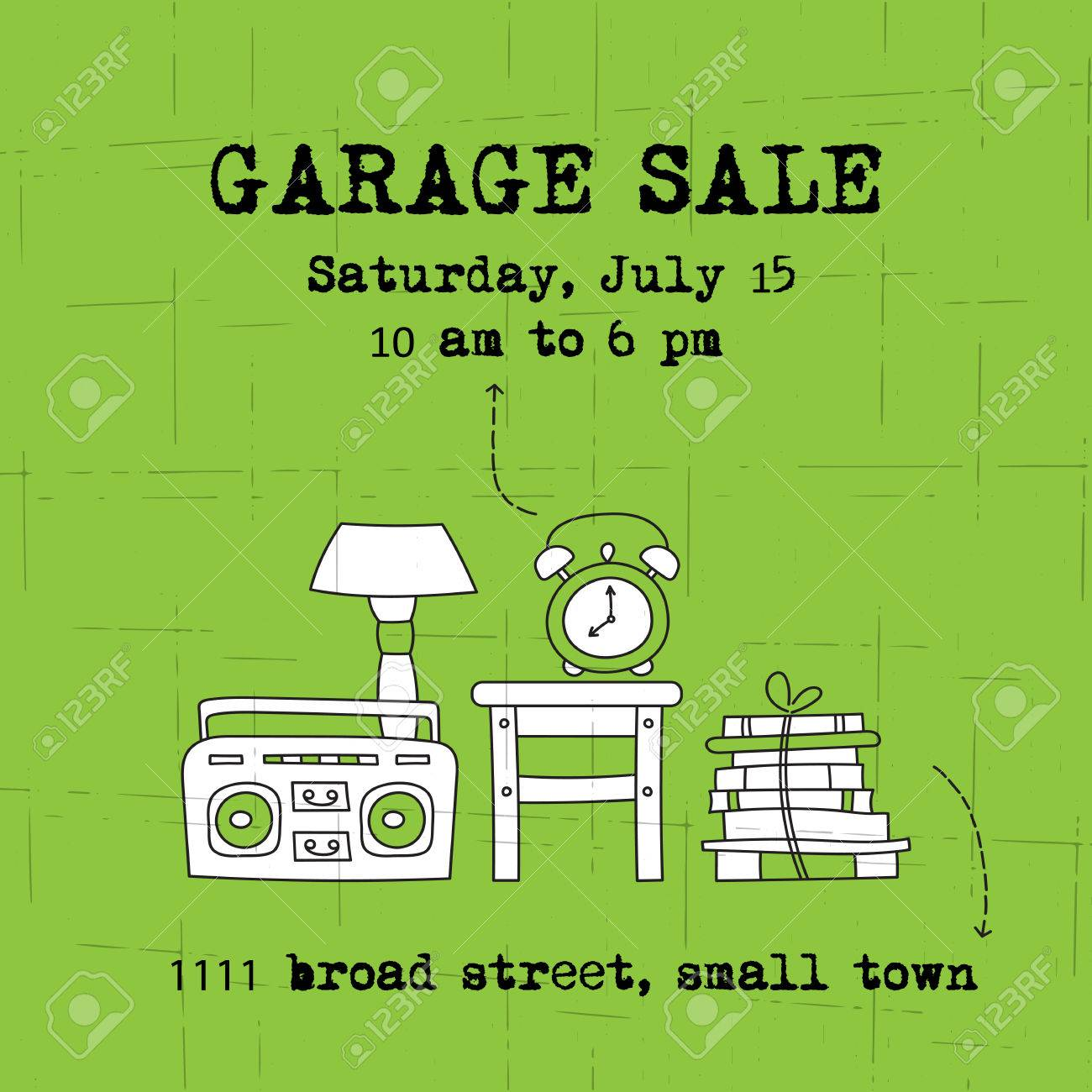 garage sale household used goods square banner template for