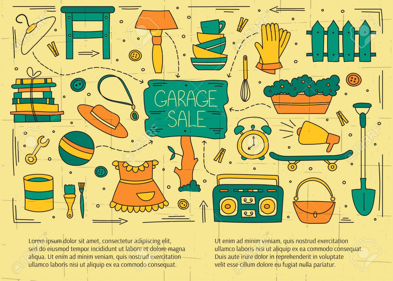 Garage Sale, Household Used Goods. Hand Drawn Line Elements ...