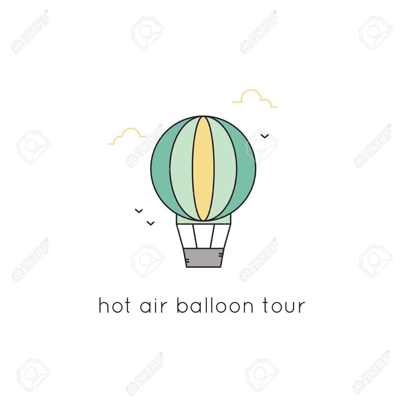 Heißluftballon Vektor Dünne Linie Symbol. Farbiges Isoliertes Symbol ...