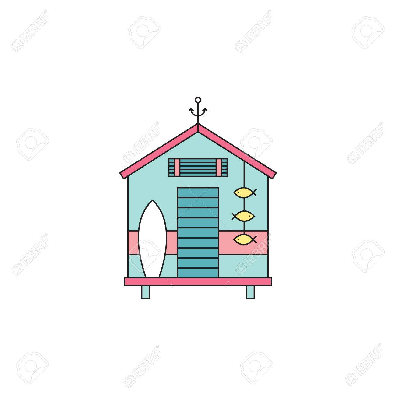 Beach Hut Vector Thin Line Icon. Colored Isolated Symbol. Logo ...