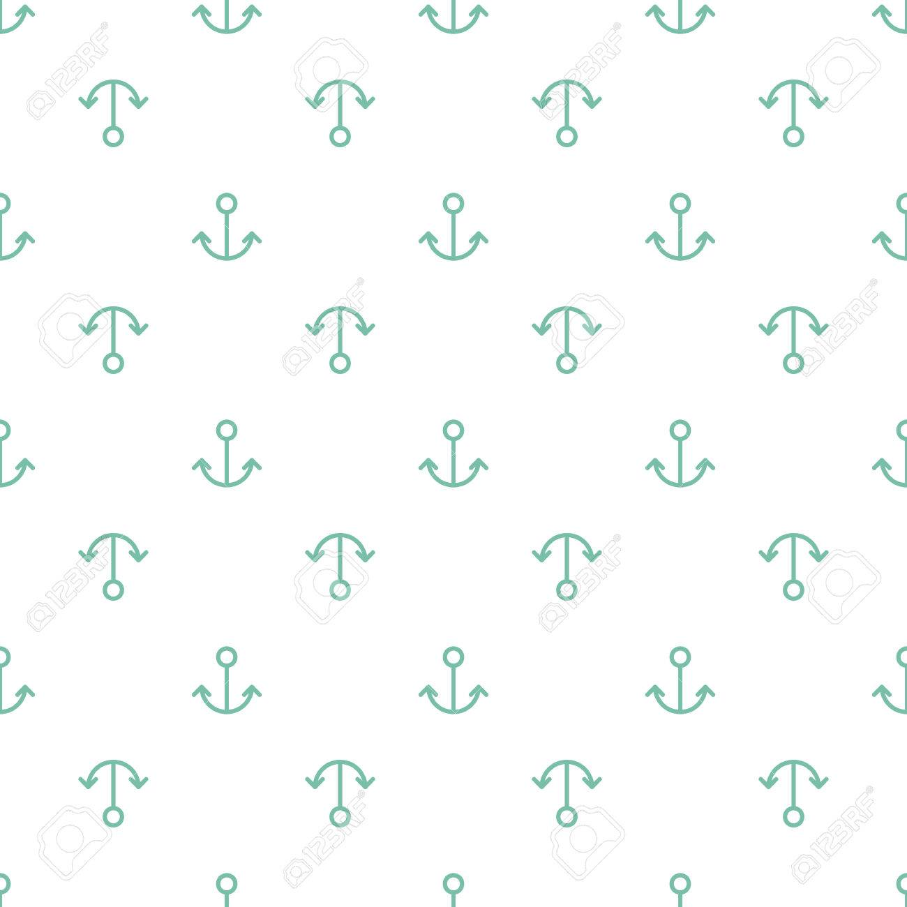 Simple abstract seamless pattern  Vector background with anchors