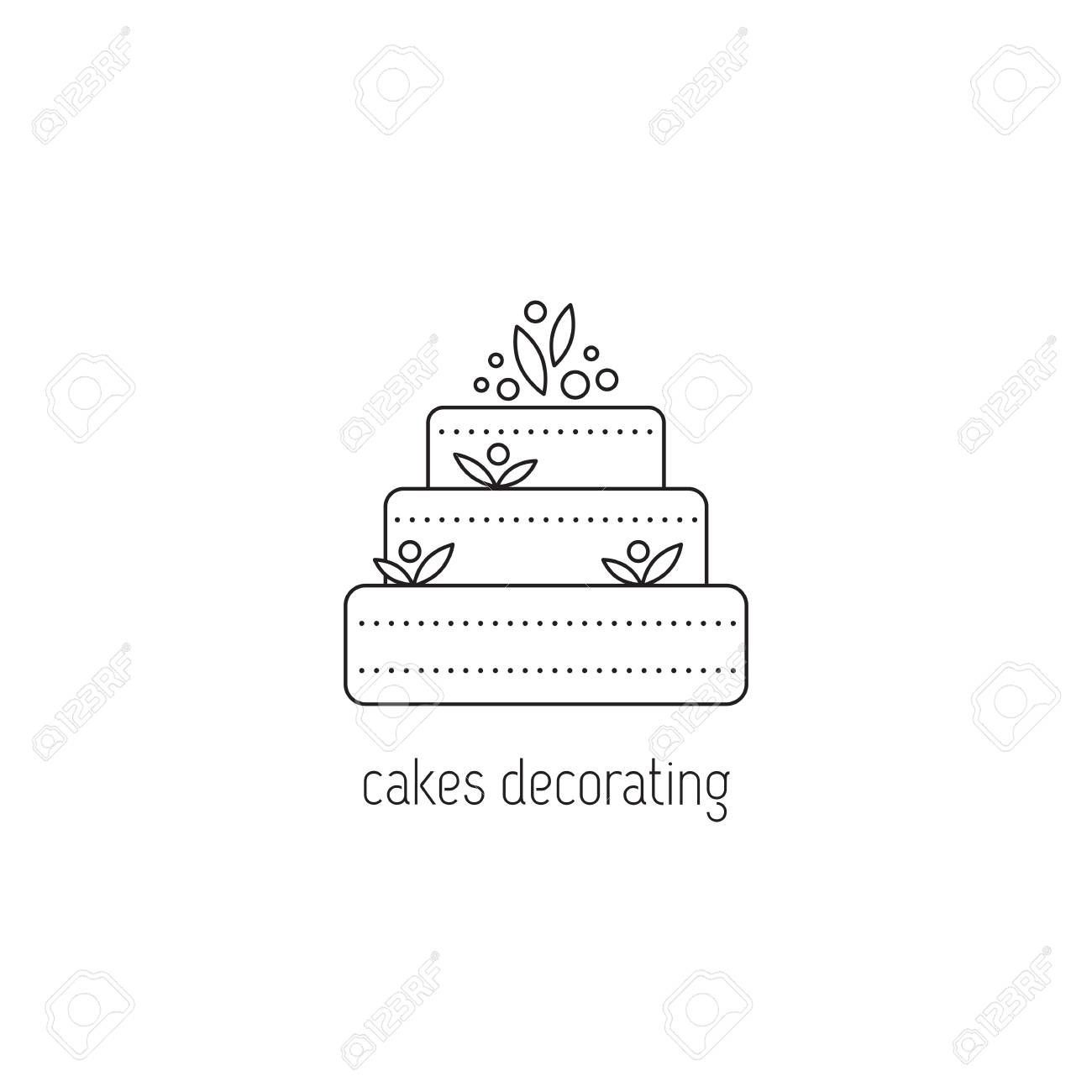 Cakes Decorating Vector Thin Line Icon A Big Cake Black On White Isolated Symbol