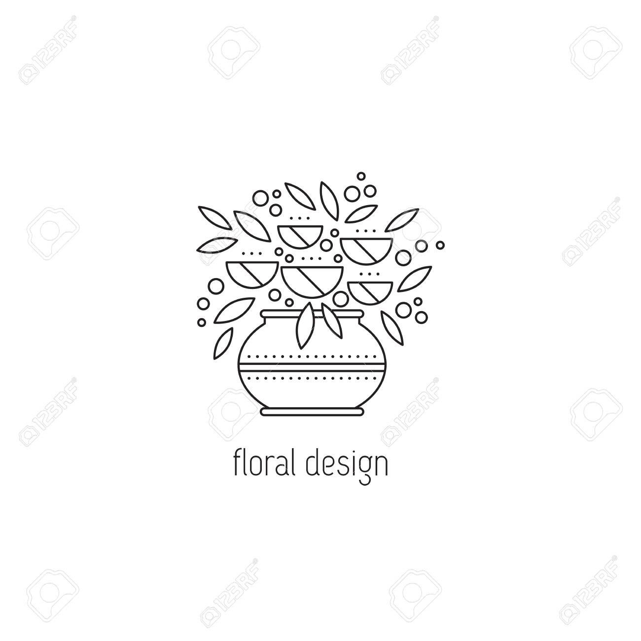 Floral Design Vector Thin Line Icon Vase With Flower Arrangement