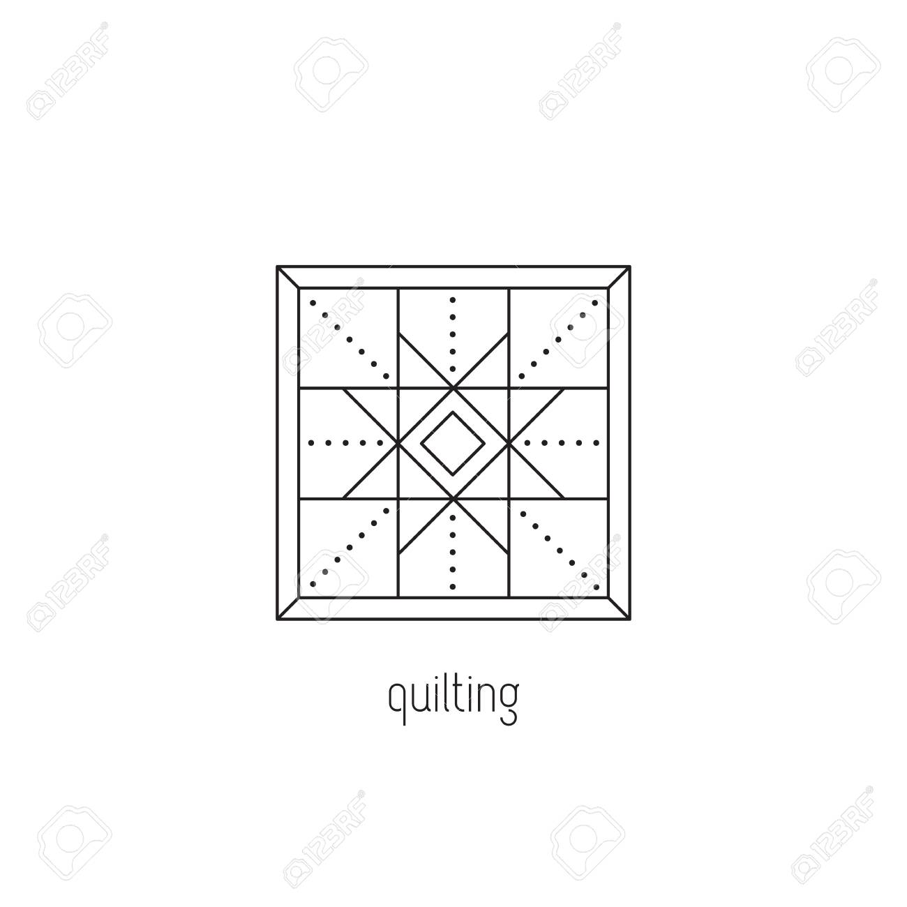 Quilting vector thin line icon patchwork blanket handmade quilt quilting vector thin line icon patchwork blanket handmade quilt colored isolated symbol reheart Choice Image