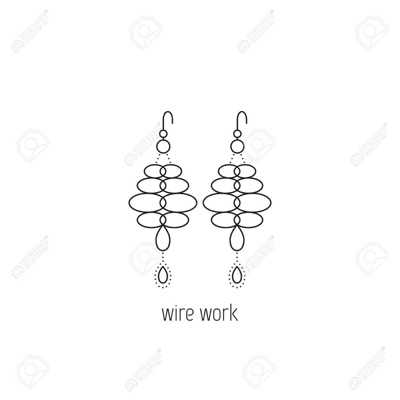 Perfect Wire Wrapping Vector Thin Line Icon. Handmade Jewelry, Earrings  IK15
