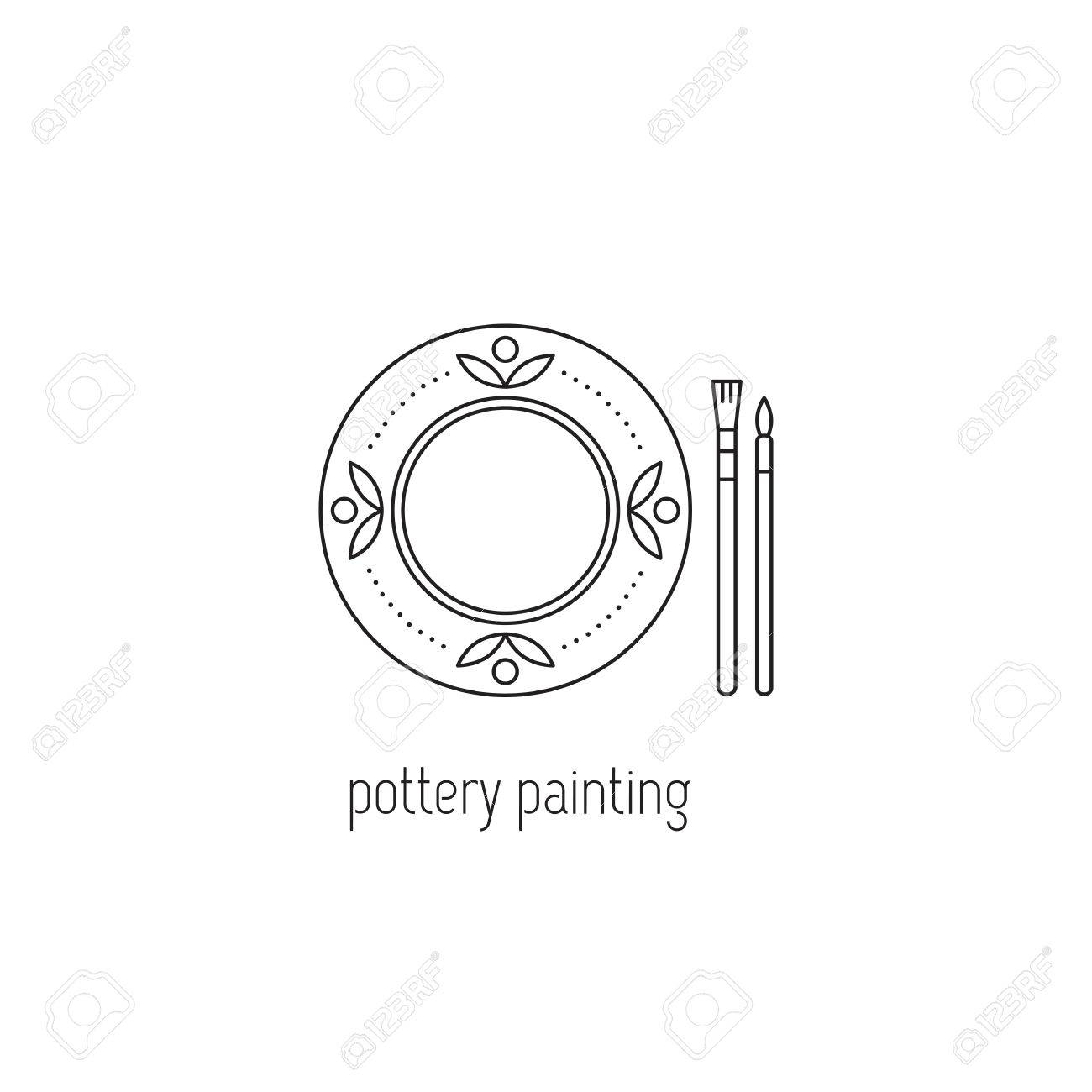 Pottery Painting Vector Thin Line Icon. Handmade Decorated Ceramic ...