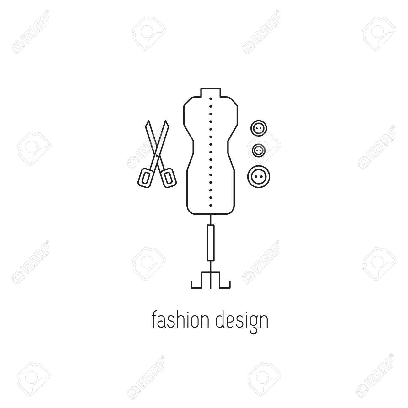 Licne De La Ligne Conception Design Mode Mannequin Ciseaux Et Boutons Symbole Isol Modle Logo Lment Pour Carte Visite Ou Annonce