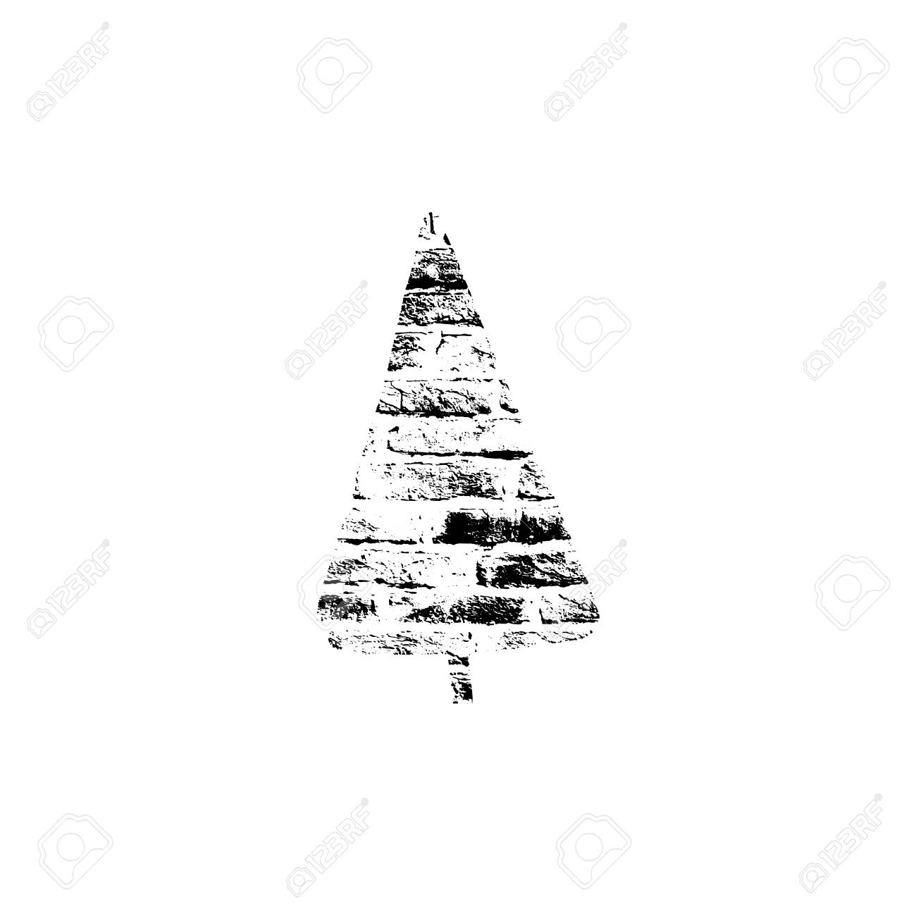Vector Textured Christmas Tree Stylized Imprint On Bricks Black