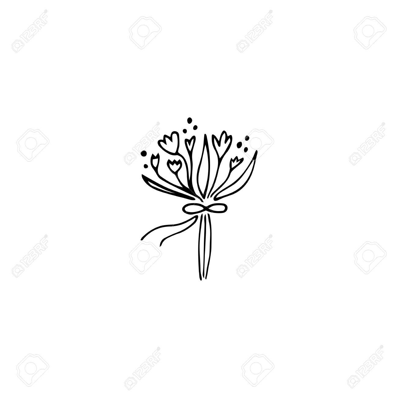 Vector Hand Drawn Object, Flower Bouquet. Feminine Logo Element ...