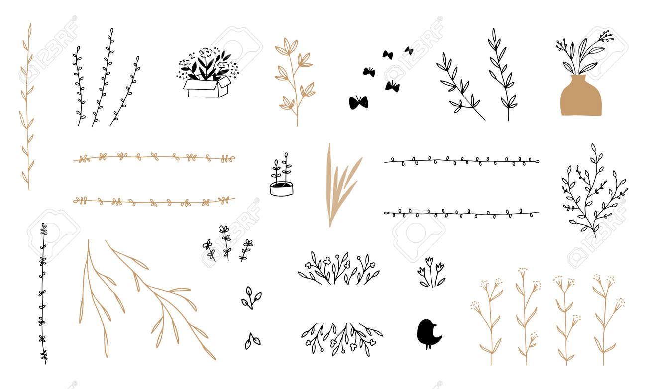Set of vector minimalistic hand drawn floral icons. Flowers and leaves. - 167256545