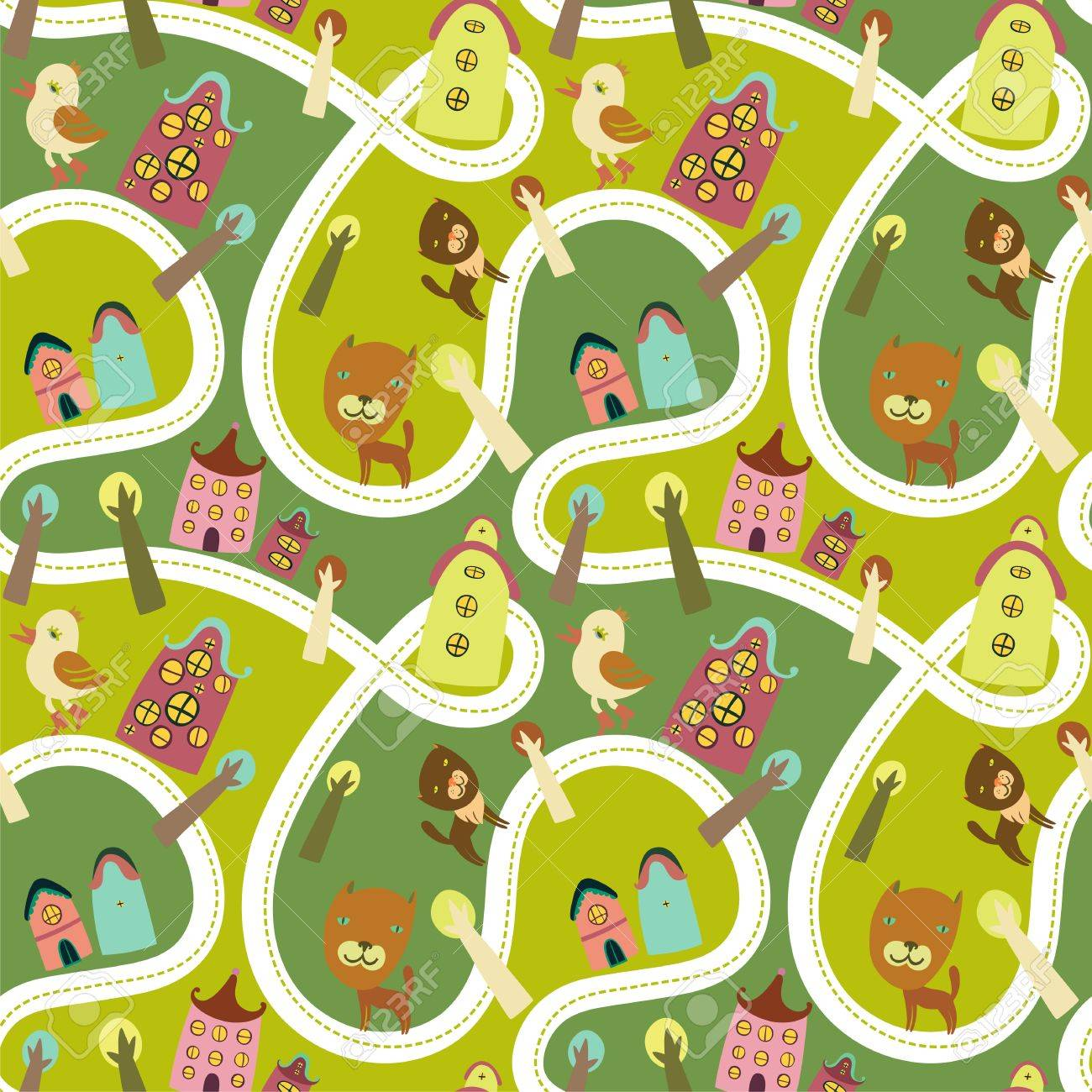 Road seamless pattern with houses and animals Stock Vector - 17700071