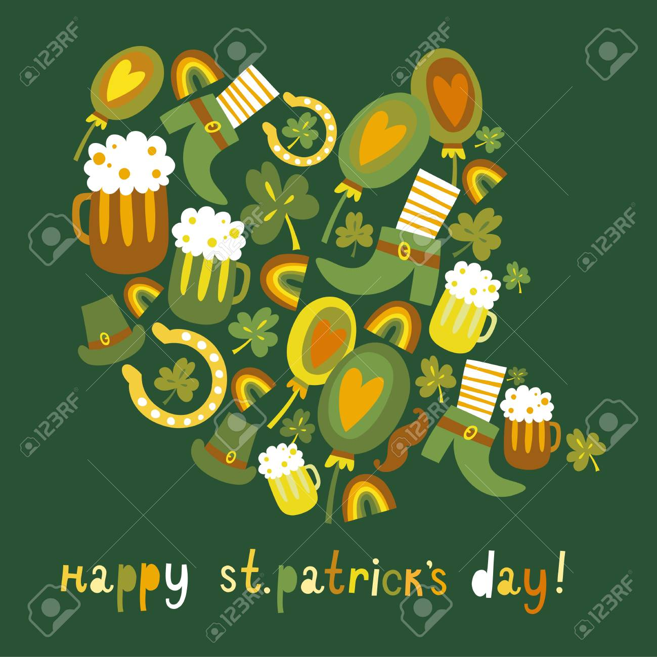 Cute colorful St Patrick s day background Stock Vector - 17960349