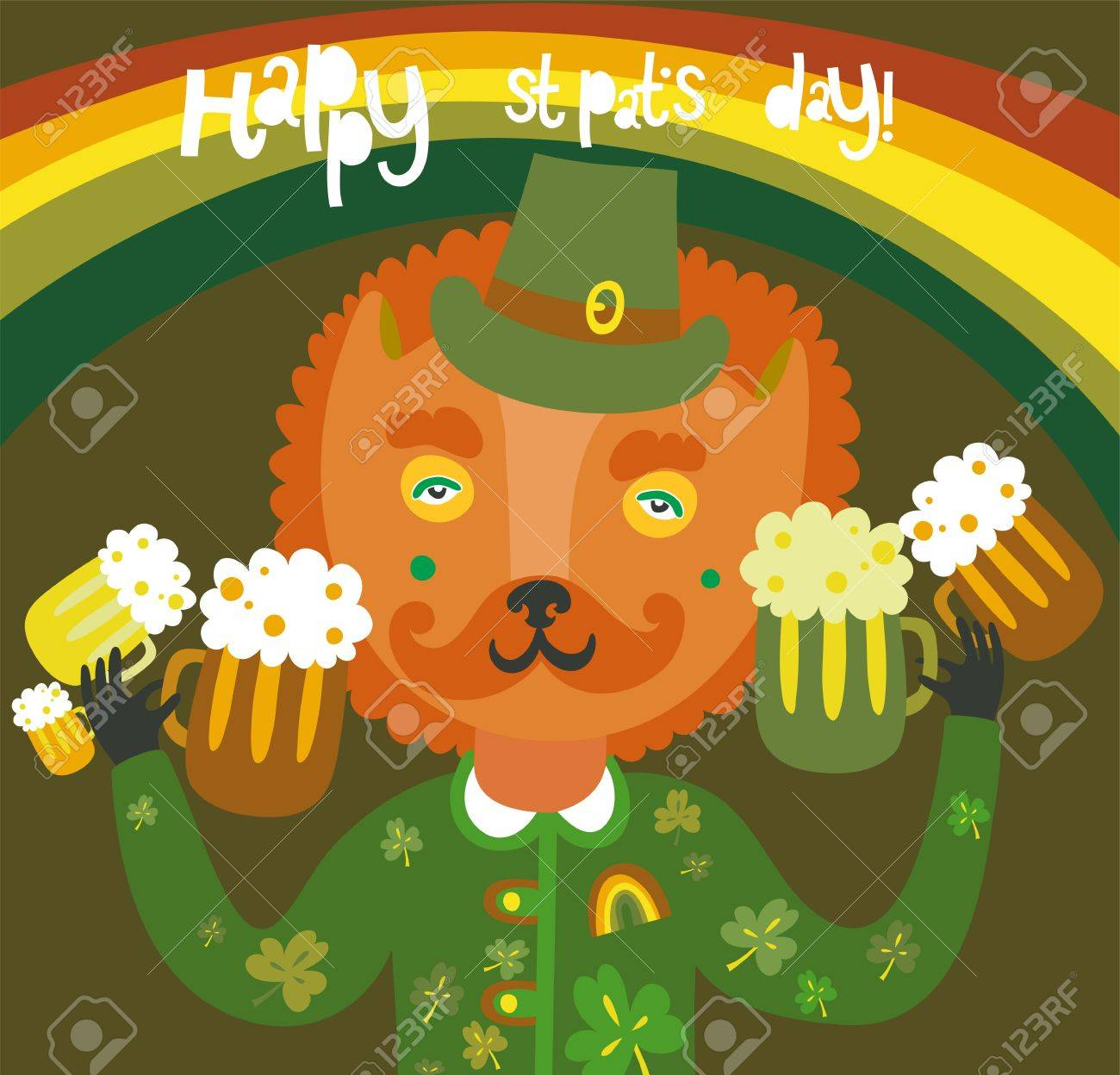 Cute St Patrick s day background with cat Stock Vector - 17960360