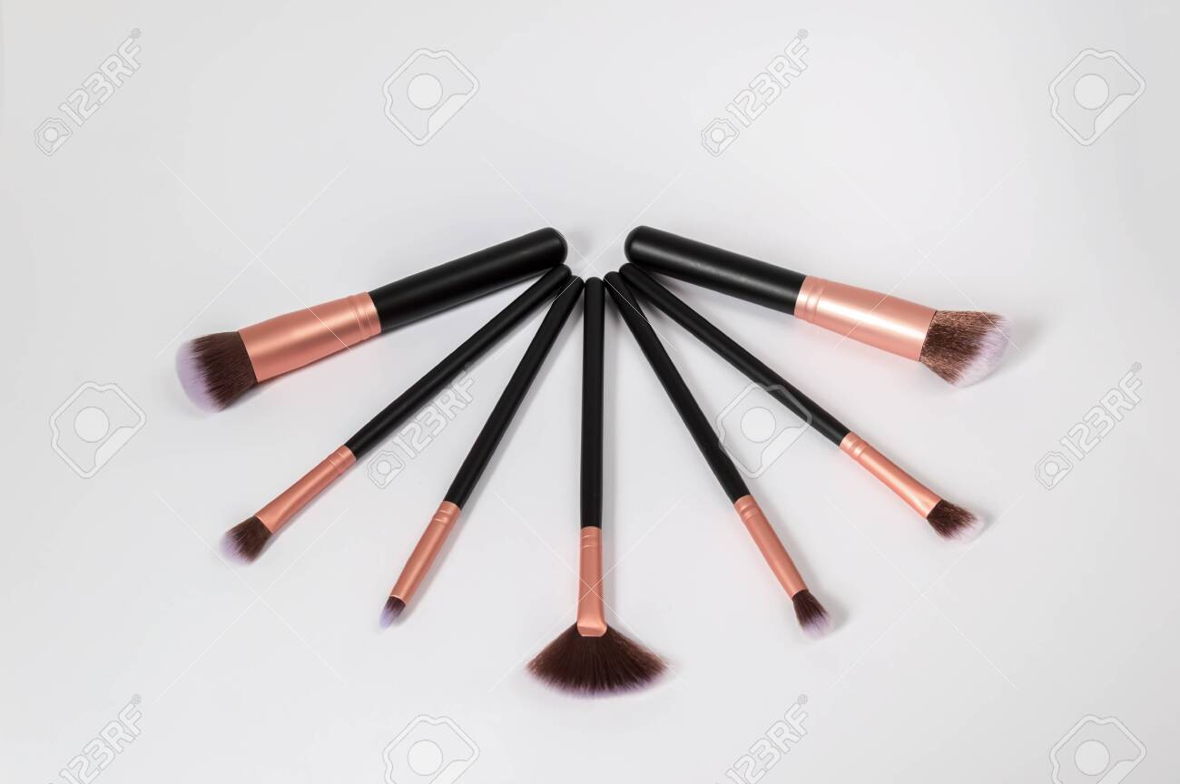 Set Of Professional Makeup Brushes With Purple Tips And Black Stock Photo Picture And Royalty Free Image Image 125517462