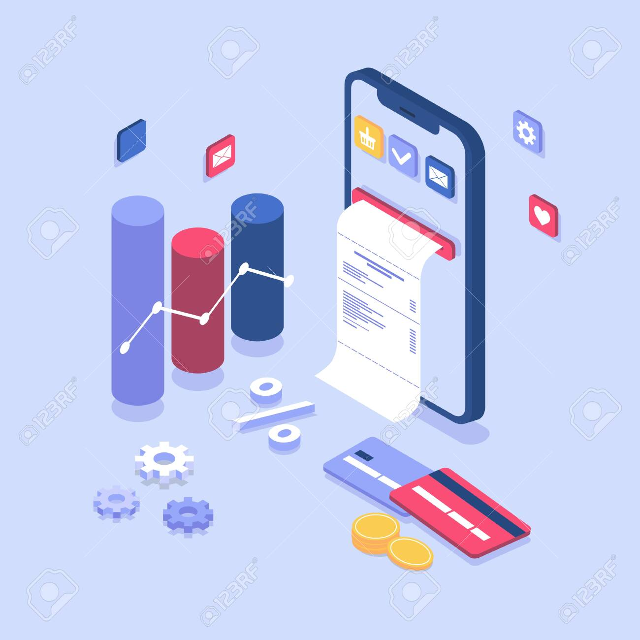electronic bill payment notification  Online payment on isometric