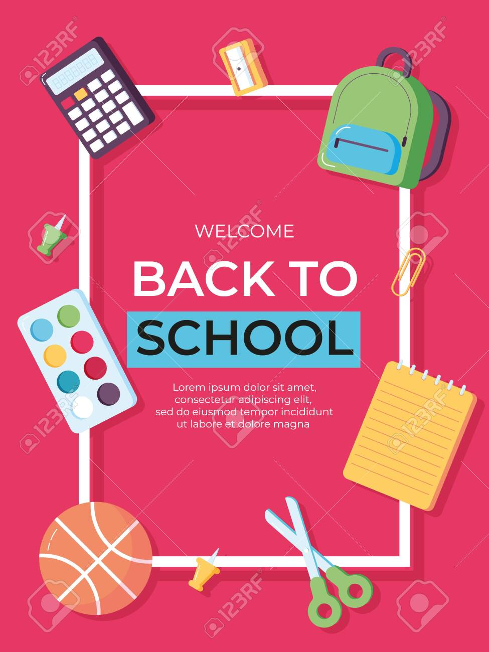 Back to school information card set  Student template of flyear,