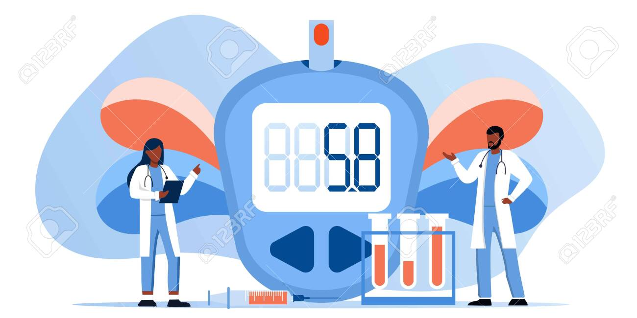 Medicine diabetes type 2 concept. Glucometer for measuring sugar level. Blood glucose meter, pills, syringe and vial, insulin production. Doctor with laboratory test equipment. Vector banner template - 139029638