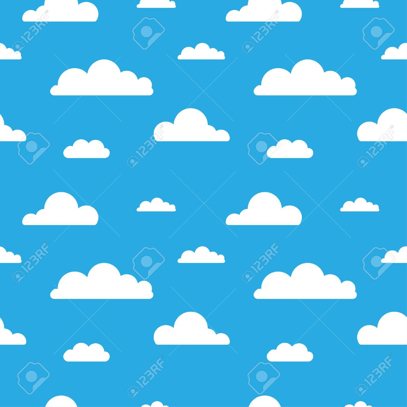 Seamless Vector Pattern With Clouds On Blue Background Cartoon