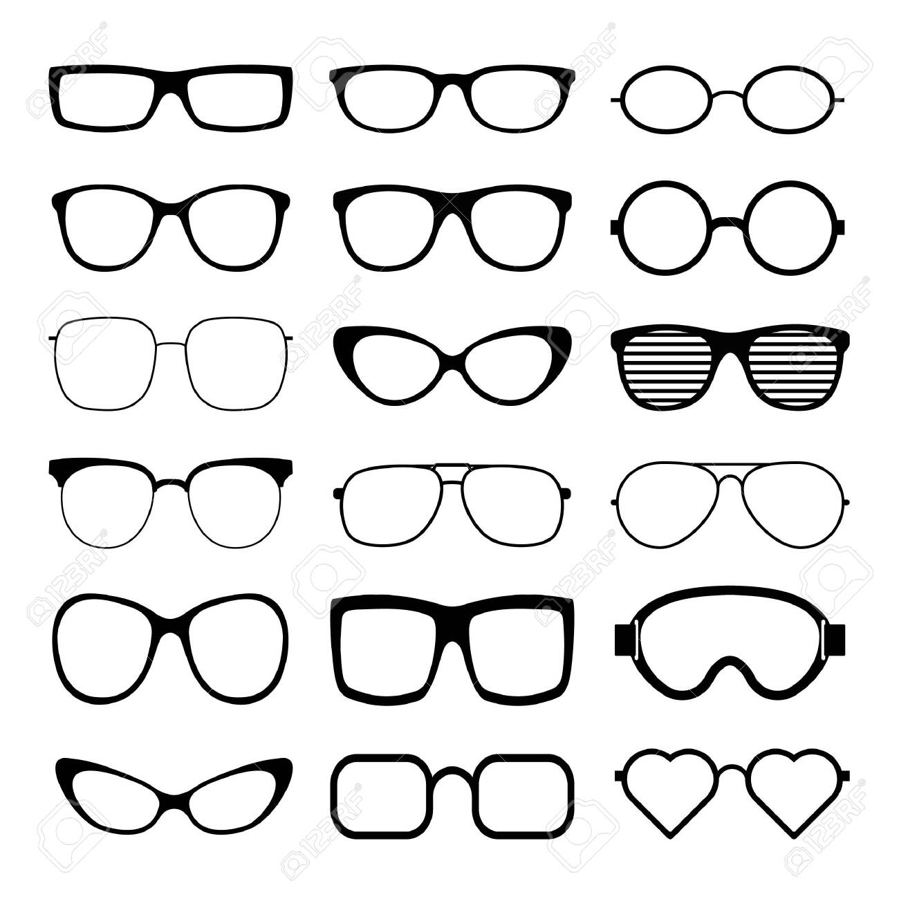 Sunglasses icon set vector template. Transparent sunglass, mens and women glasses silhouette. Vector illustration. - 144994435