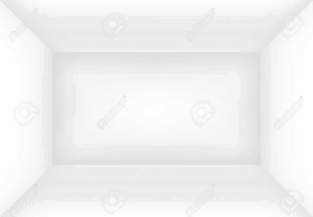 Empty white room or box. Interior background mock up for your design. Vector illustration. - 144710835