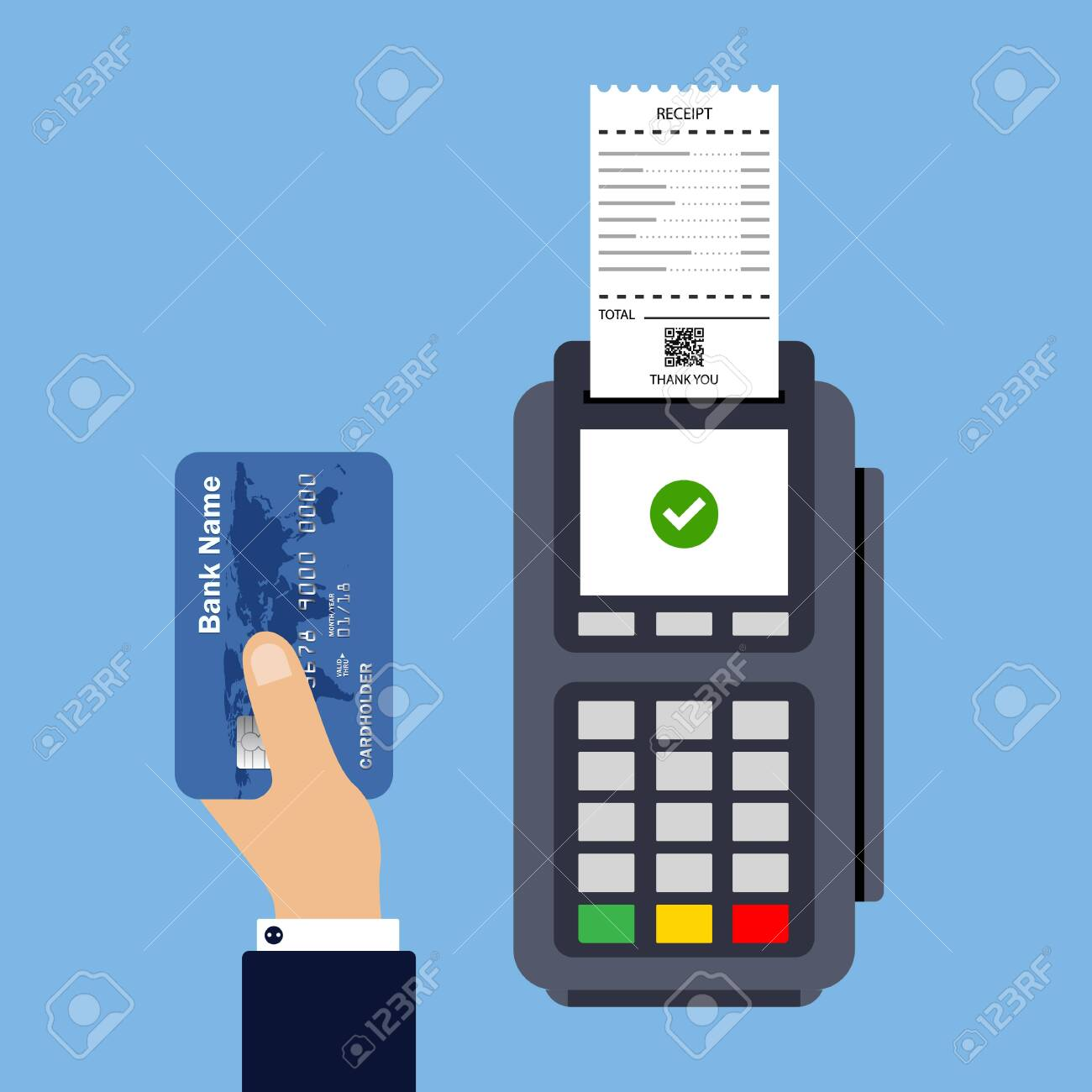 Flat design of POS terminal usage concept. Payment by card concept. Vector illustration. Isolated. - 145238346