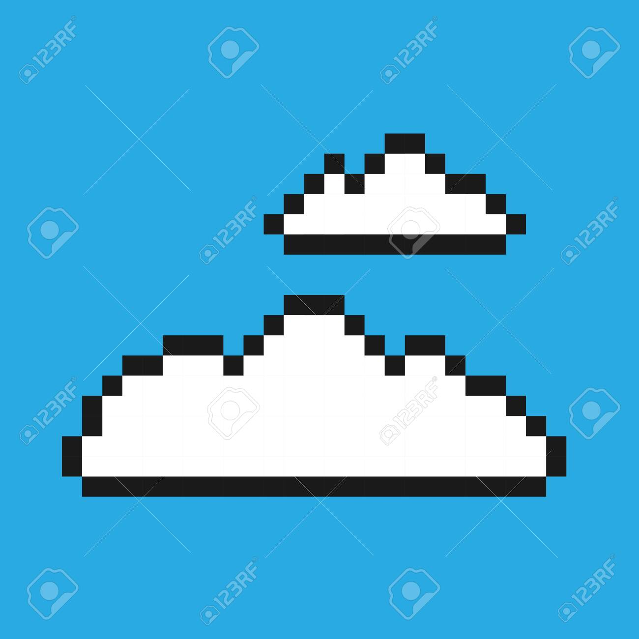 Pixel video game cloud icon. 8-bit concept. Vector illustration in retro game style isolated on blue background. - 147070631