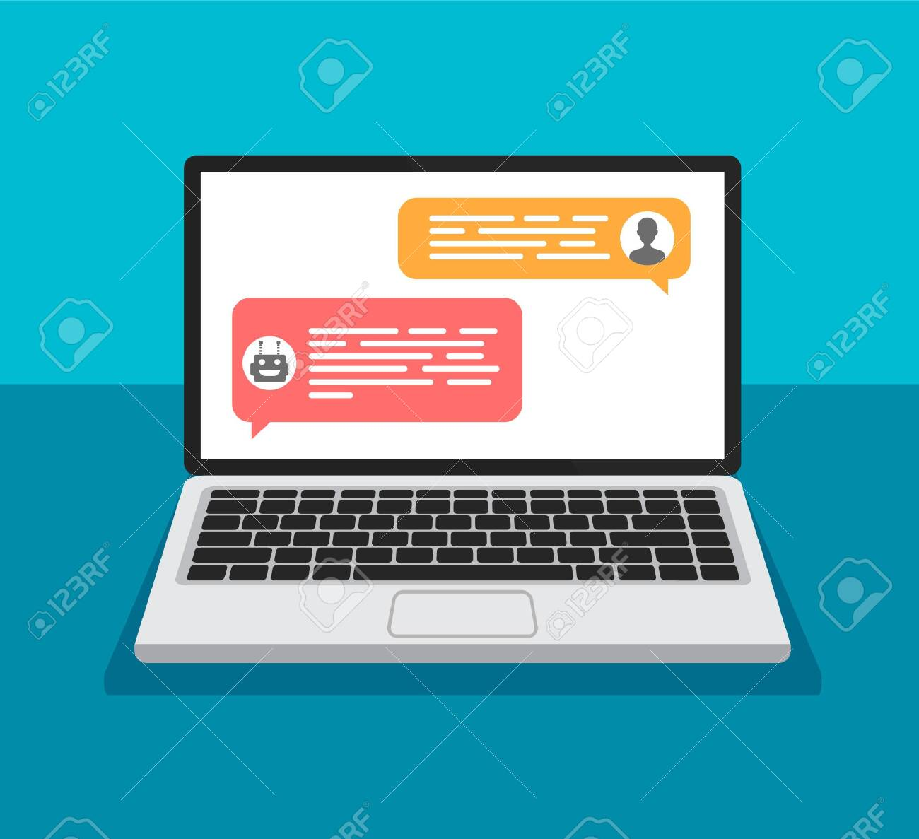 Chat bot concept. Open laptop with dialog boxes. Chatting between robot and human on a computer display. Flat design of messaging bubbles. - 154336105
