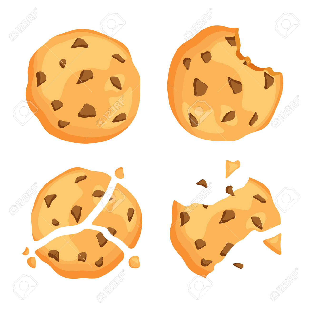 Traditional chip cookies with crumbs. Bitten and broken cookie with chocolate. Vector illustration isolated on white background. - 166402112