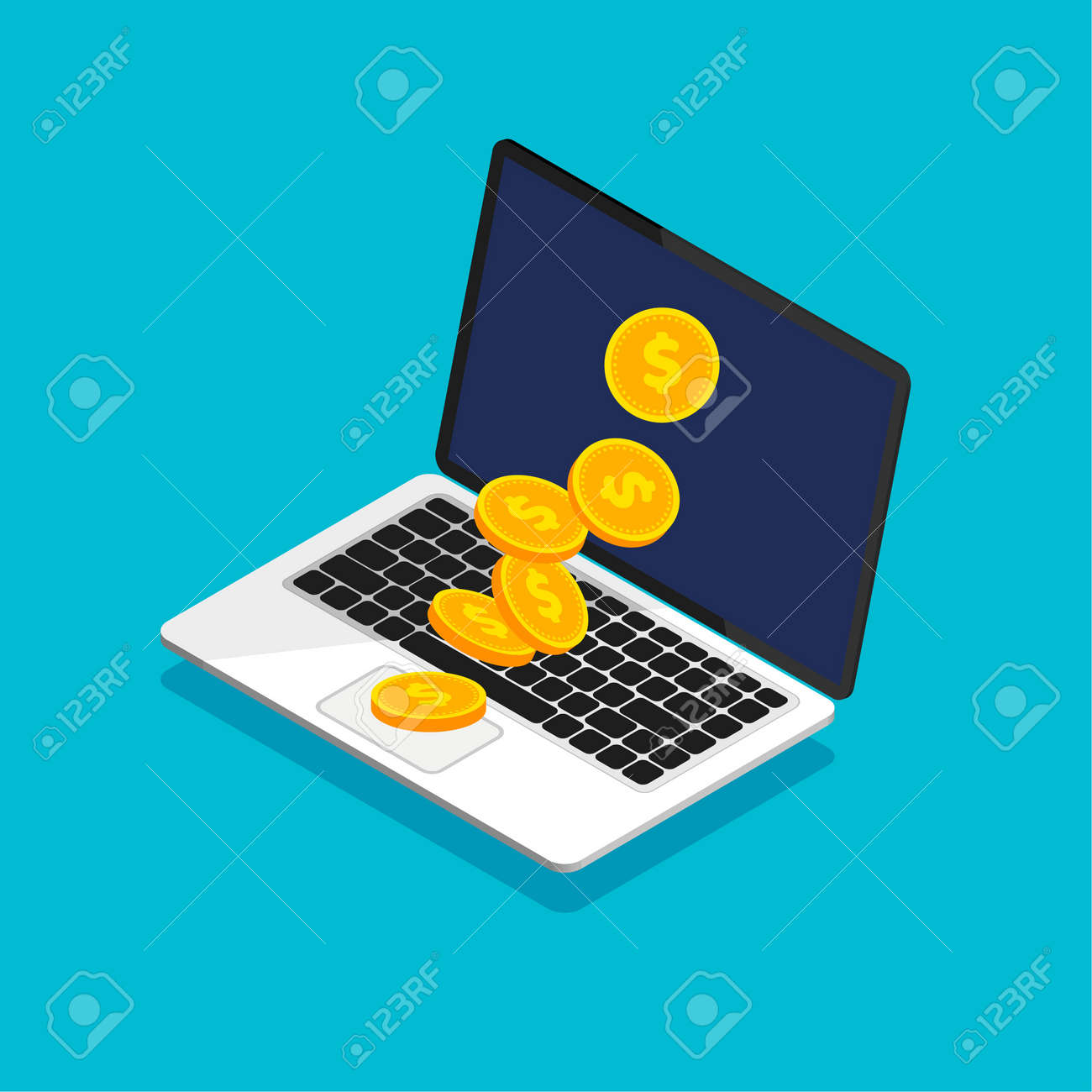 Open laptop with coin heap in trendy isometric style. Falling coins. Money movement and online payment. Online banking concept. Cashback or money refund. Vector illustration. - 166625809