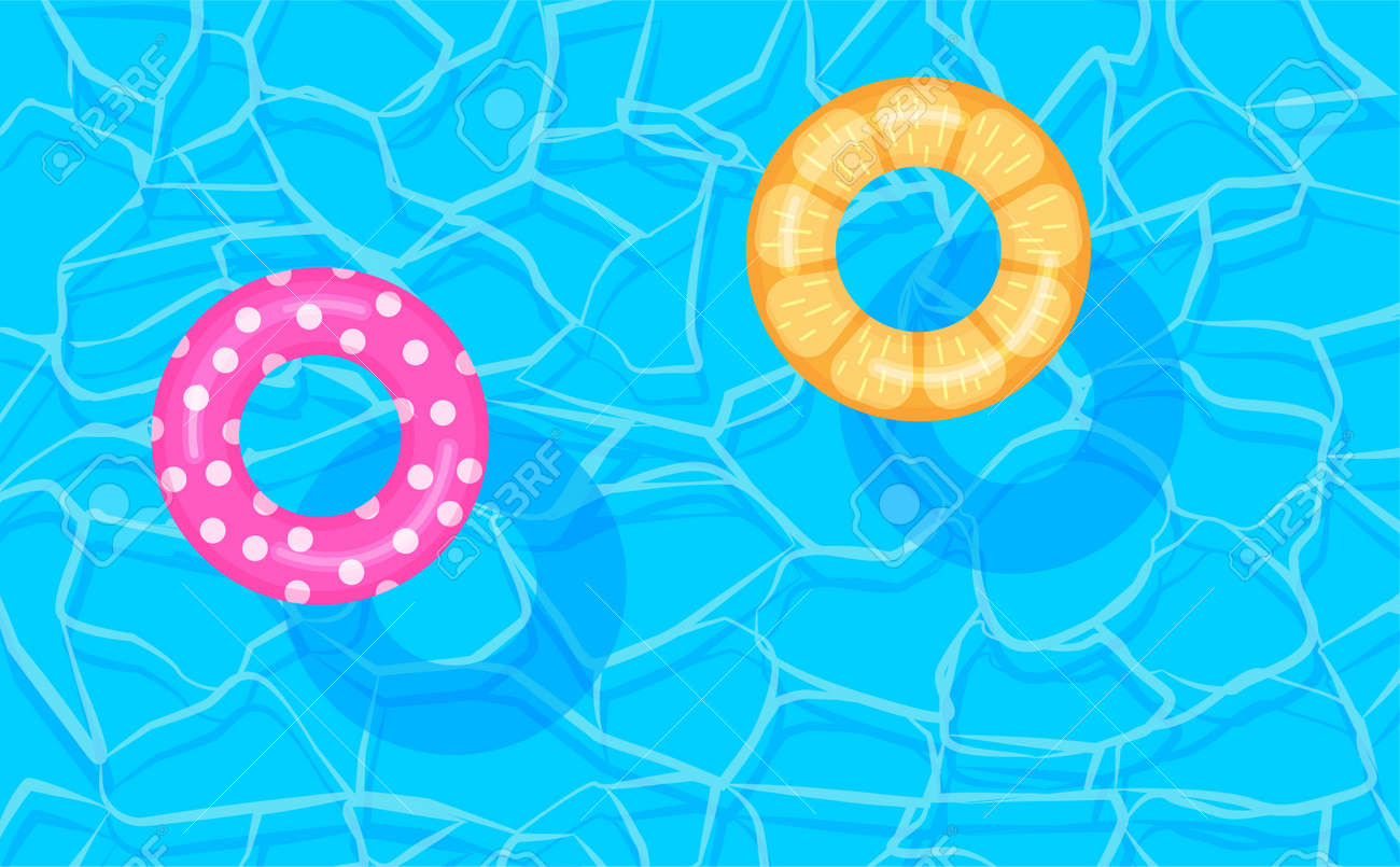 Swimming pool summer background with colorful lifebuoys. Pool party template banner. Float rings. Vector illustration in trendy flat style. - 167217053