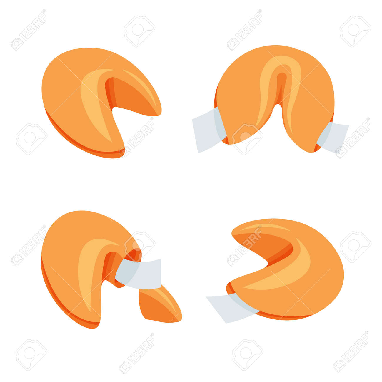 Open and closed Chinese fortune cookies in trendy flat style. Vector illustration isolated on white background. - 167217062