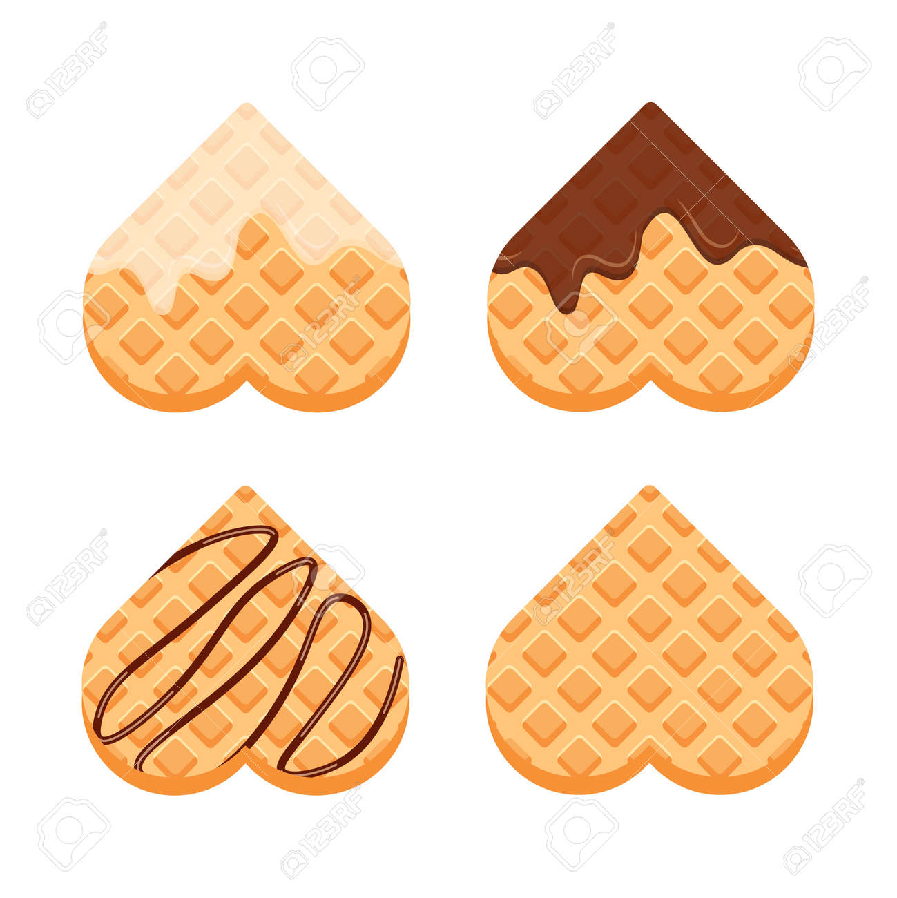 Viennese or belgian waffles with vanilla cream and chocolate. Set of heart shaped waffle. Vector illustration in trendy flat style isolated on white background - 166987579