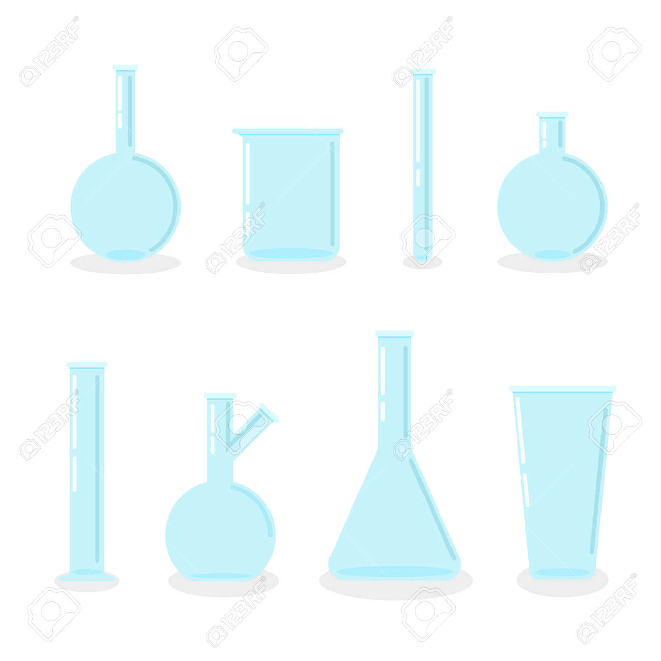 Set of empty laboratory flasks, chemical glass tubes and beakers. Transparent glassware. Vector illustration in trendy flat style. - 167217063