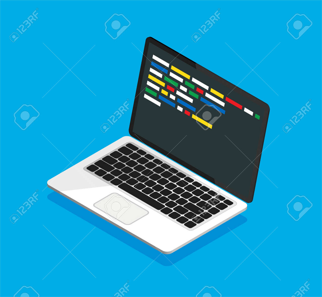 Isometric laptop with code on a display. Web developer, design, programming. Coding concept. Isolated vector illustration. - 167217064