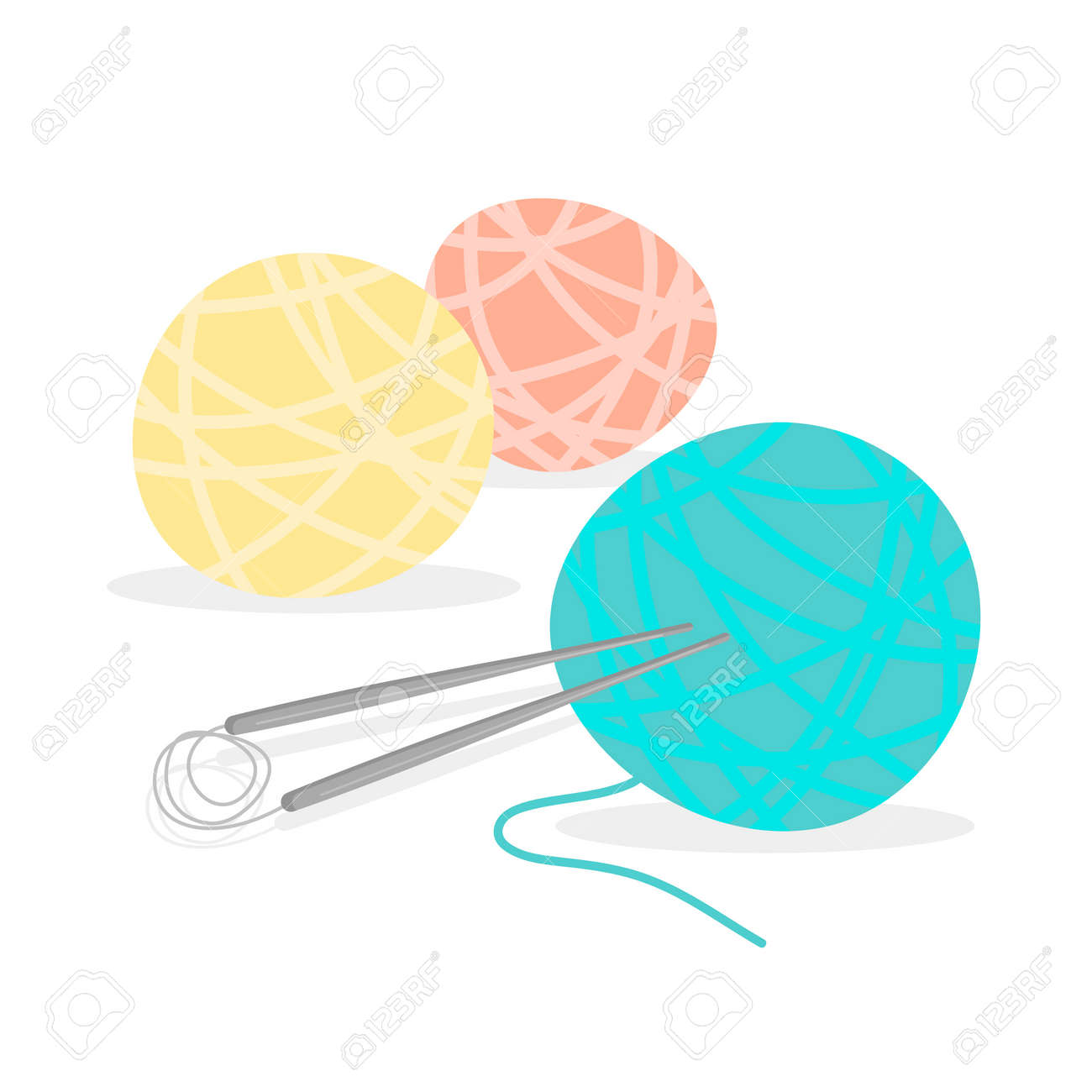 Different colors of knitting thread with needles. Balls of yarn. Tools for knitwork. Female hobby. Vector illustration isolated on white background. - 167865632