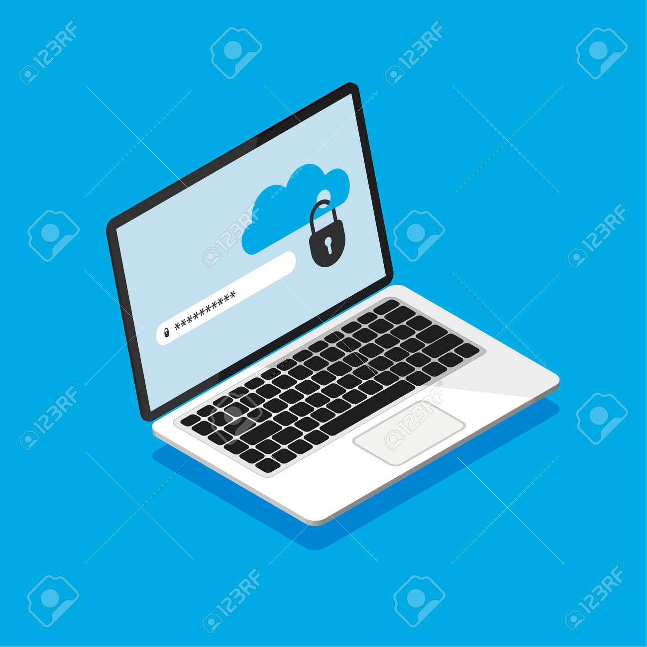Isometric laptop with locked cloud storage on screen. File protection. Enters password. Data security and privacy concept on computer display. Safe confidential information. Vector illustration. - 167494580