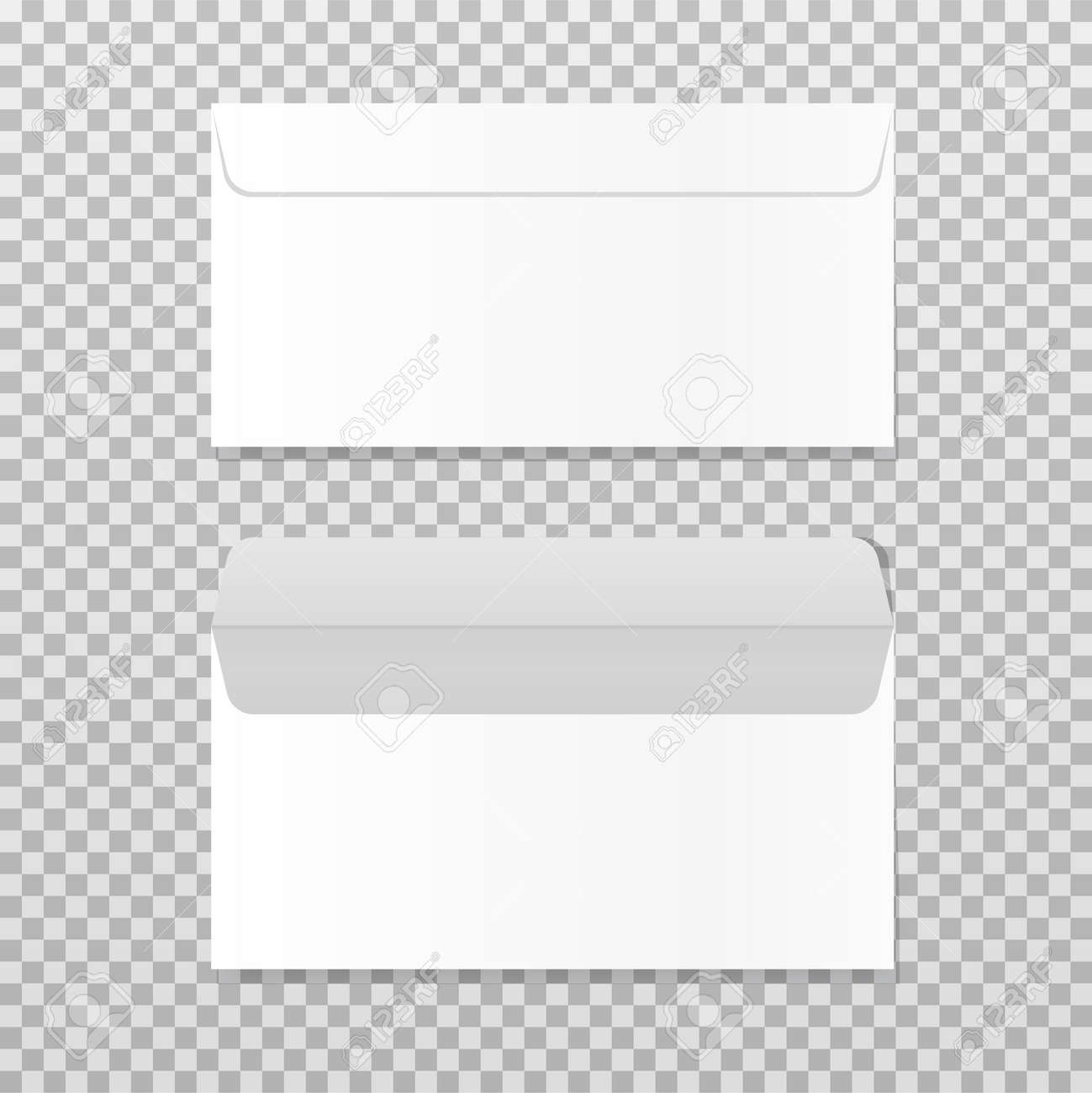 Open and closed empty envelope mock up. Realistic blank letter template. Paper C4 white envelopes front view. Vector illustration isolated on transparent background. - 169877656