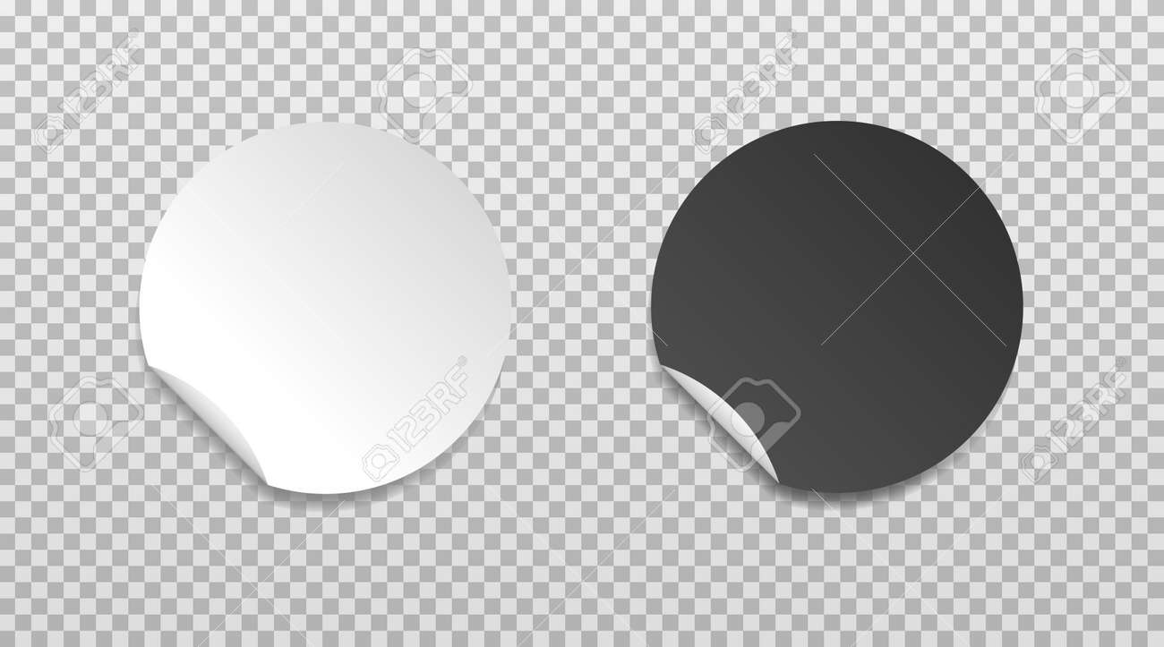 White and black round folded edge sticker. Empty paper price tag templates with peeling corner. Blank layout for any notes. Vector illustartion isolated on transparent background. - 169877655