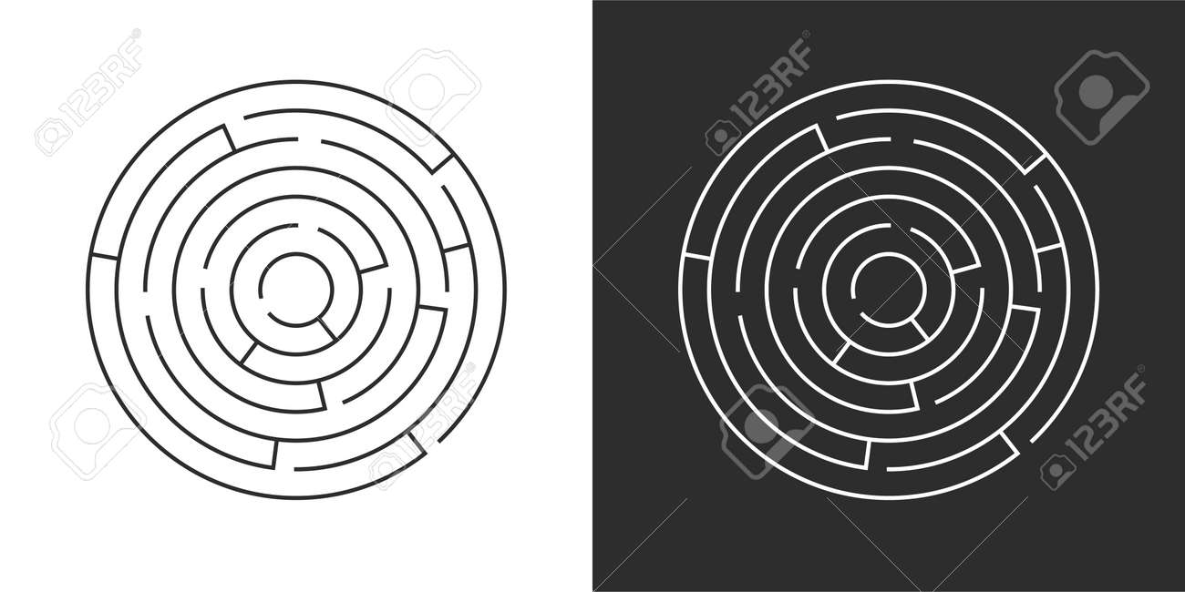 Circle maze set. Labyrinth template on white and black background. Vector illustration isolated - 169877663